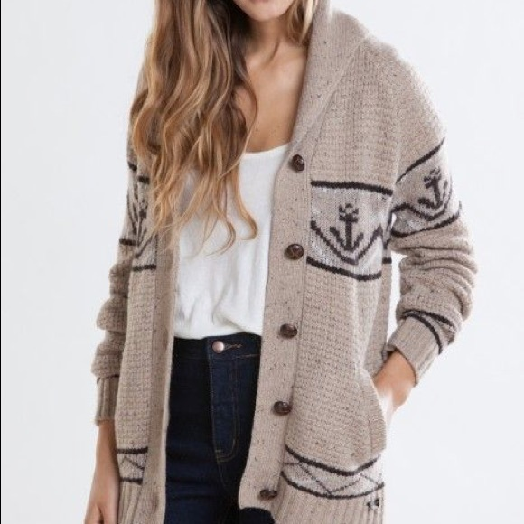 298bffb5059685 Obey No. 9 women s knit button up anchor cardigan.  M 5a382a64739d48cd840011e7